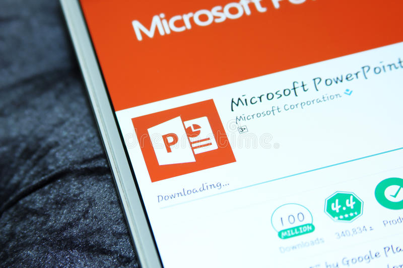 Microsoft powerpoint mobile app. Downloading microsoft powerpoint mobile app from google play store on samsung tablet stock photography