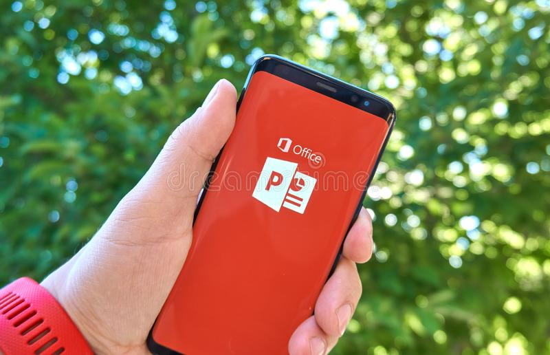Microsoft PowerPoint mobile app on Samsung s8. MONTREAL, CANADA - August 28, 2018: Microsoft PowerPoint android app on Samsung s8 screen royalty free stock photography