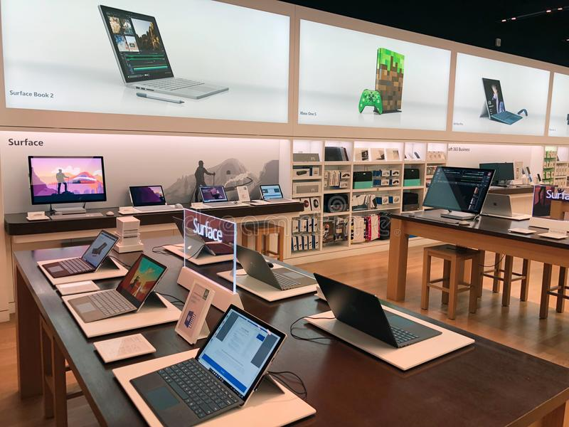 Microsoft Store - Chandler Fashion Center in Chandler Arizona. Microsoft store location in Chandler Arizona. Products being sold include Xbox One X, Microsoft royalty free stock photos