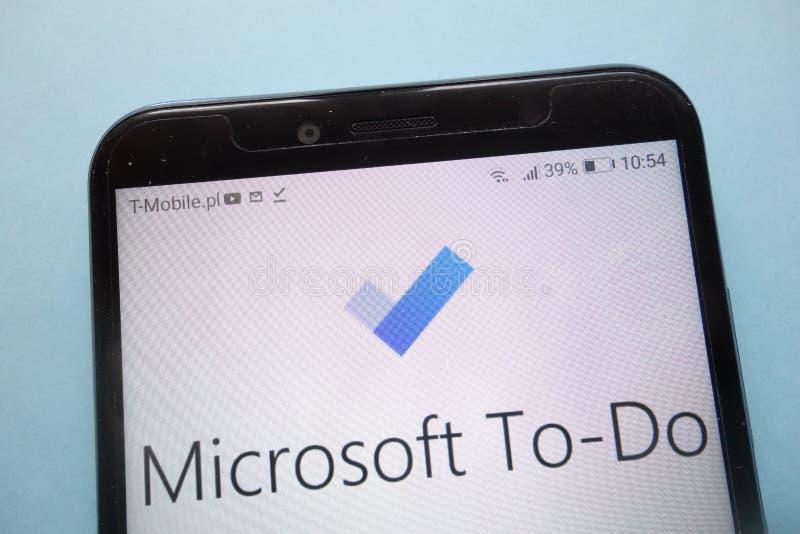 Microsoft-Taakembleem op smartphone wordt getoond die royalty-vrije stock foto