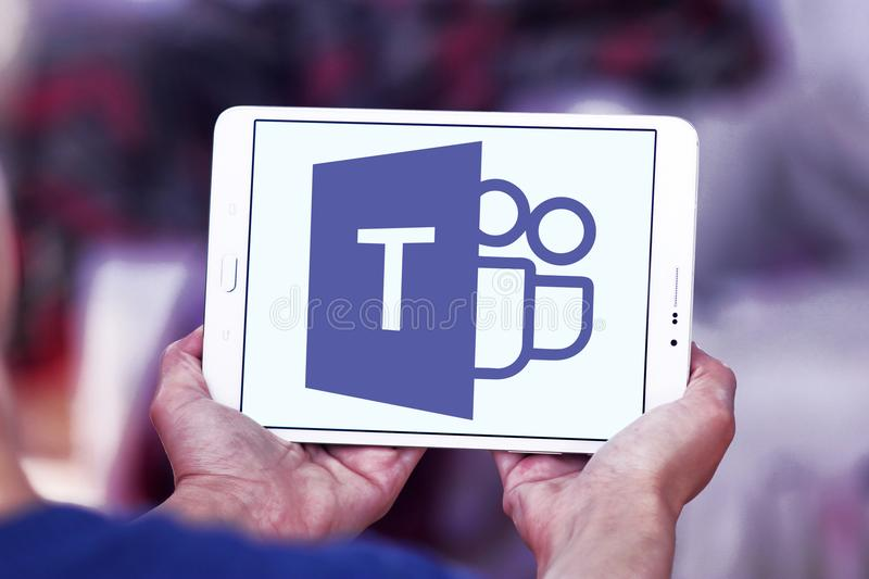 Microsoft Teams logo. Logo of Microsoft Teams on samsung tablet. Microsoft Teams is a platform that combines workplace chat, meetings, notes, and attachments royalty free stock images