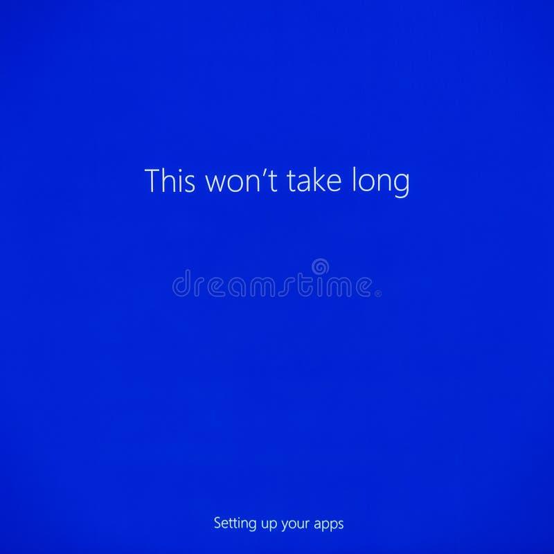 Microsoft Windows 10 υπέρ εγκατάσταση στοκ φωτογραφία με δικαίωμα ελεύθερης χρήσης