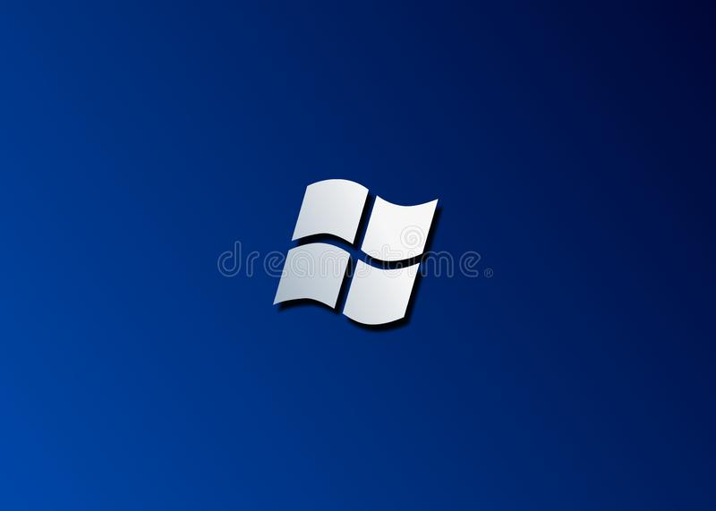 Microsoft Windows blanc d'isolement sur un fond bleu illustration stock