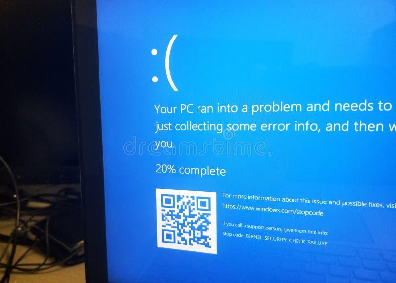 MIcrosoft Windows 10 Blue screen of death. MONTREAL, CANADA - MARCH 10, 2018: MIcrosoft Windows 10 Blue screen of death on a display. Microsoft Windows 10 is a stock photos