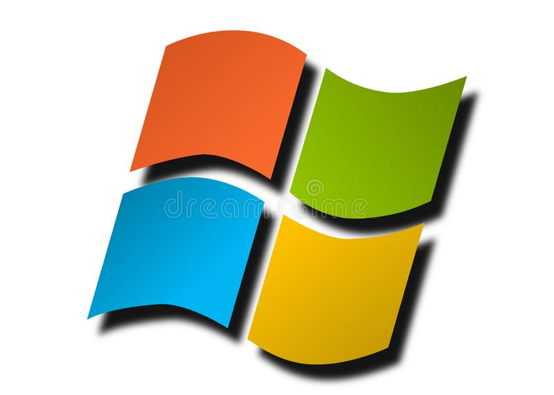 Microsoft Windows coloré d'isolement sur un fond blanc illustration de vecteur