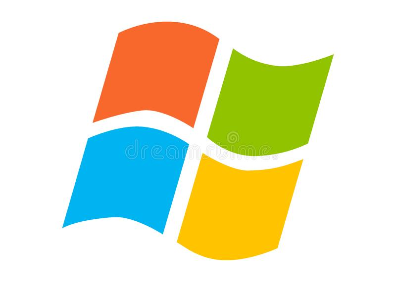 Microsoft Windows coloré plat d'isolement sur un fond blanc illustration de vecteur