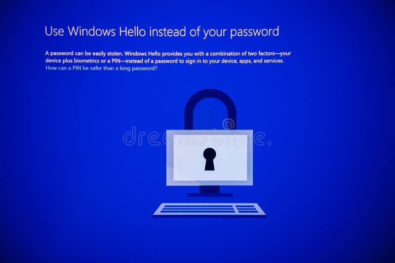 MIcrosoft Windows 10 pro installation use windows hello instead stock image