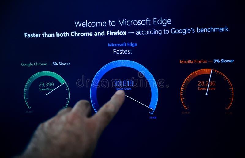 MIcrosoft Windows 10 pro installation welcome to microsoft Edge stock photos