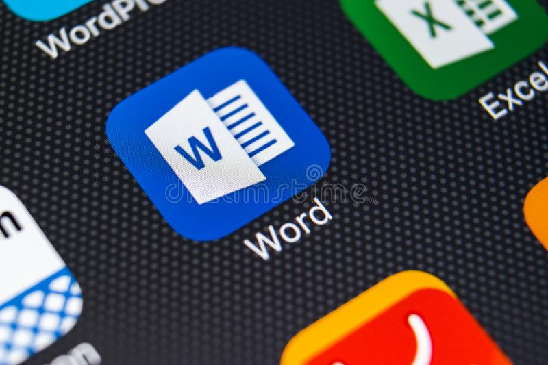 Microsoft Word application icon on Apple iPhone X screen close-up. Microsoft Word icon. Microsoft office on mobile phone. Social royalty free stock photography
