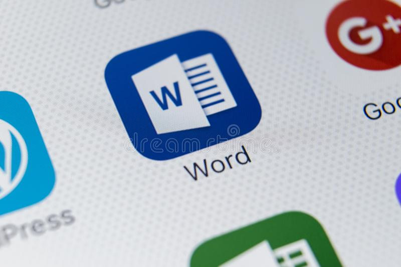 Microsoft Word-toepassingspictogram op Apple-iPhone X het schermclose-up Microsoft Word-pictogram Microsoft-bureau op mobiele tel stock afbeelding