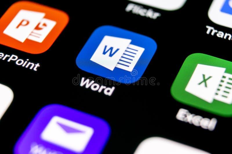 Microsoft Word-toepassingspictogram op Apple-iPhone X het schermclose-up Microsoft-het pictogram van het bureauwoord Microsoft-bu stock afbeeldingen