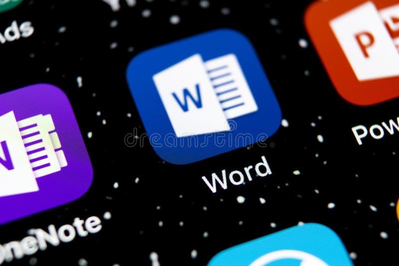 Microsoft Word-toepassingspictogram op Apple-iPhone X het schermclose-up Microsoft-het pictogram van het bureauwoord Microsoft-bu stock afbeelding
