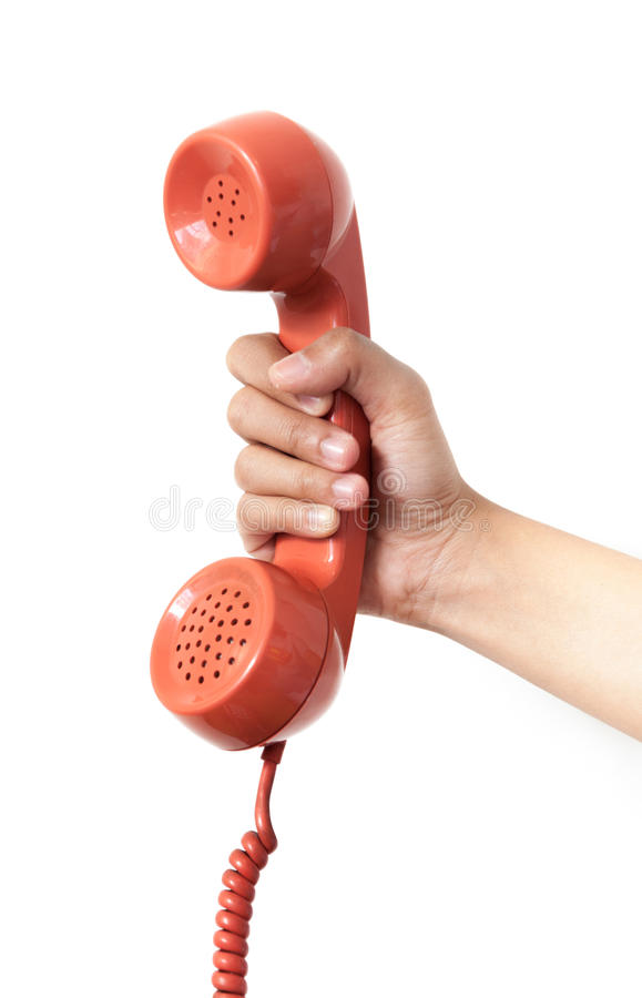 Microteléfono de teléfono anaranjado del vintage sobre el fondo blanco fotografía de archivo libre de regalías