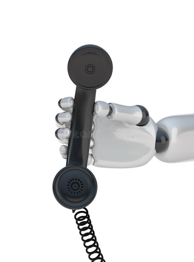 Microtelefono a disposizione del robot royalty illustrazione gratis
