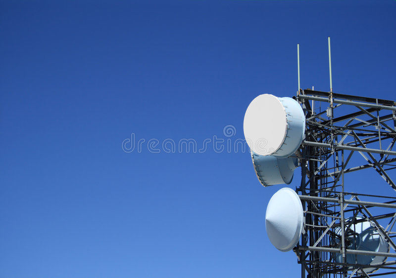 Microwave antenna tower royalty free stock image