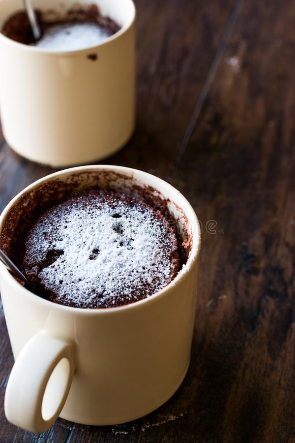 Microwave Brownie Chocolate Mug Cake with Powder Sugar on Dark Wooden Surface. stock image