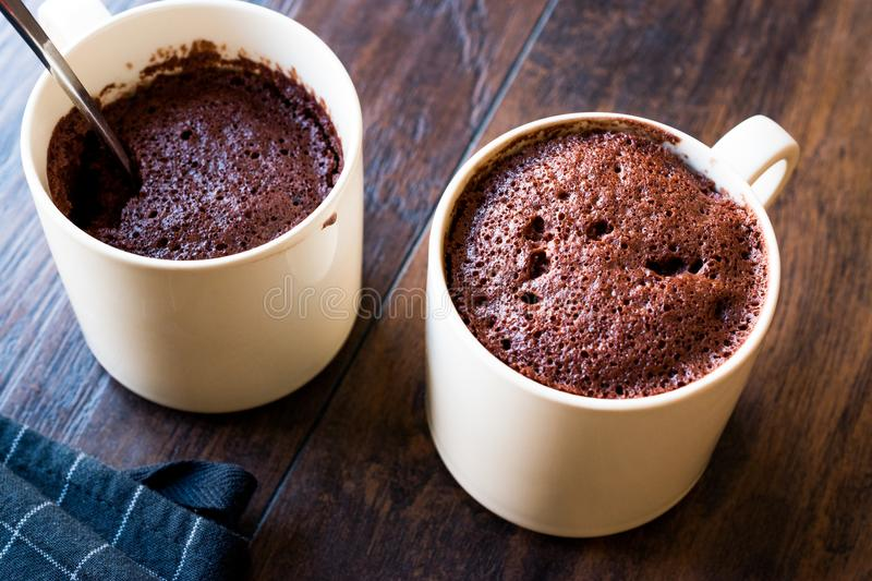 Microwave Brownie Chocolate Mug Cake Ready to Eat. stock photos