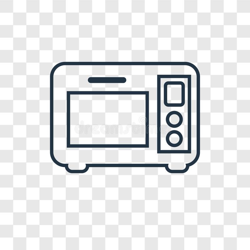Microwave oven concept vector linear icon isolated on transparent background, Microwave oven concept transparency logo in outline. Microwave oven concept vector royalty free illustration