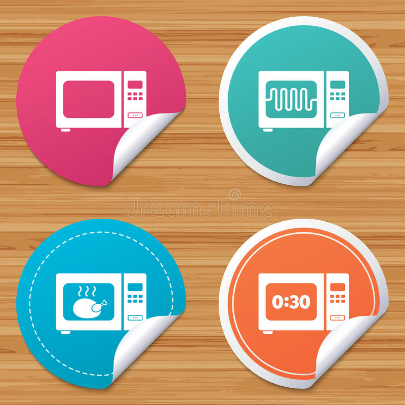 Microwave Oven Symbols: Microwave Oven Icons. Cook In Electric Stove. Stock Vector