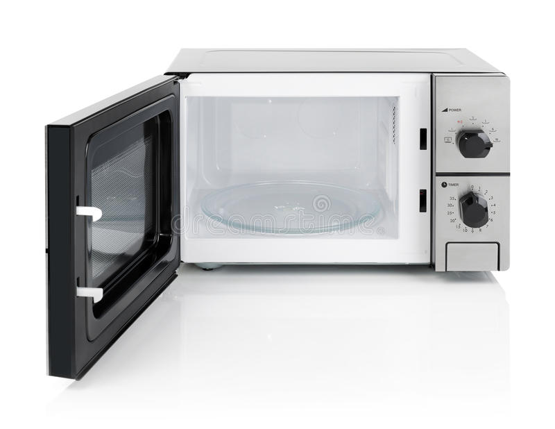Microwave oven isolated on white stock photos
