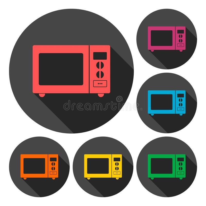 Microwave oven sign icons set with long shadow vector illustration