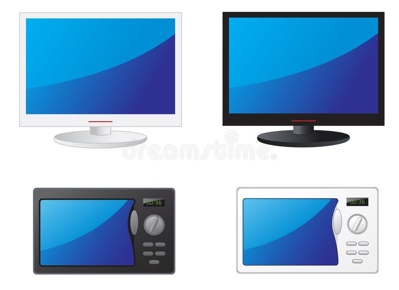 Microwave and TV stock illustration