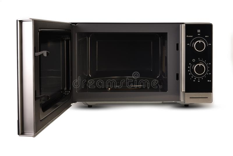 Microwave on white background stock photo