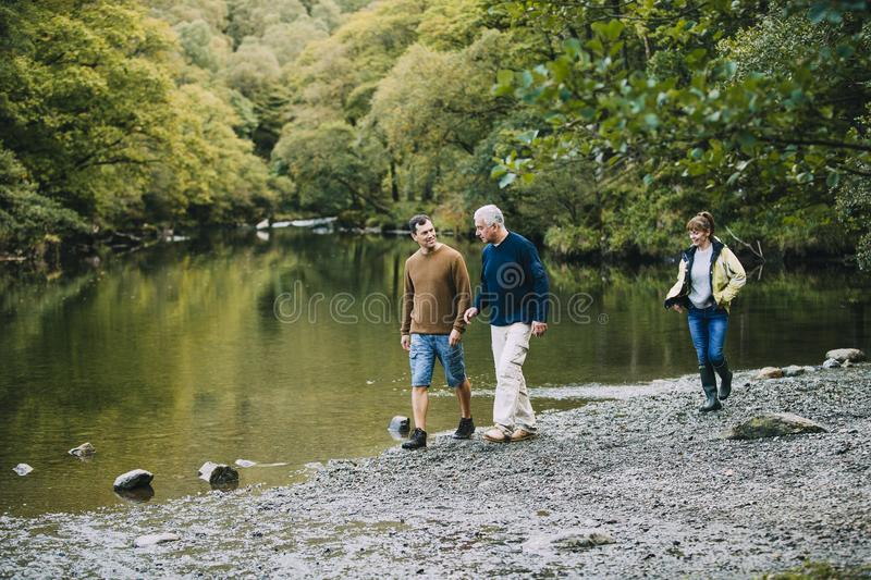 Family Hiking Round the Lake District stock image