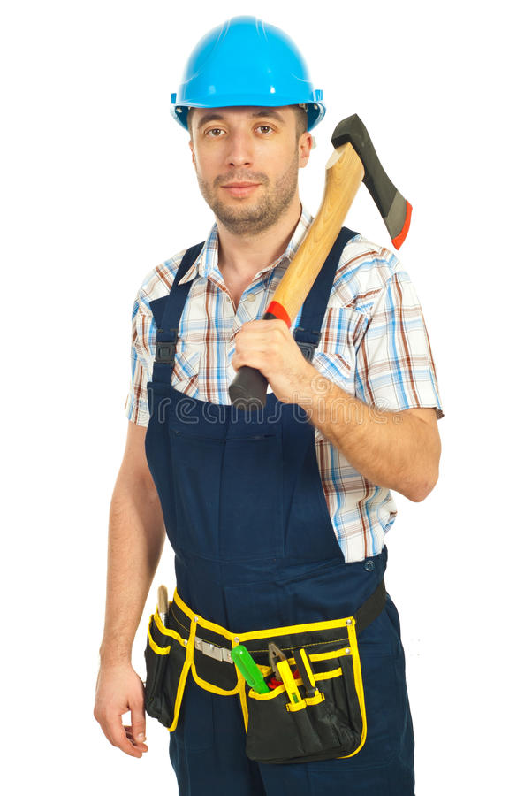Mid Adult Worker Holding Hatchet Stock Image