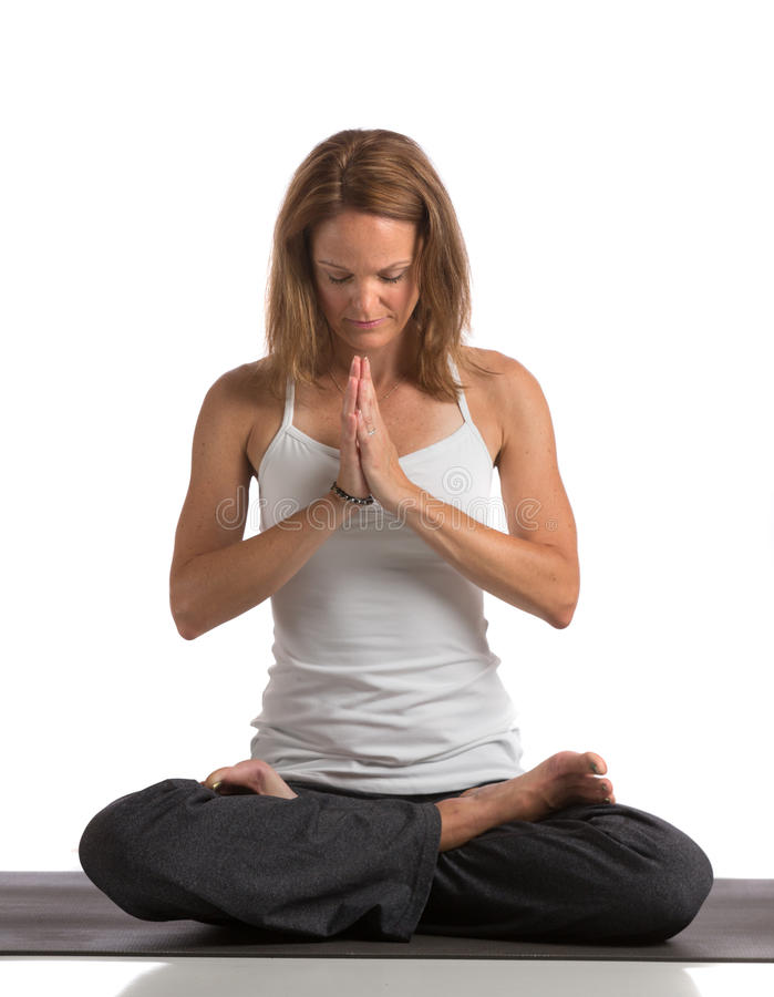 Download Mid-Age Healthy Looking Female Practicing Yoga Stock Photo - Image: 25972140