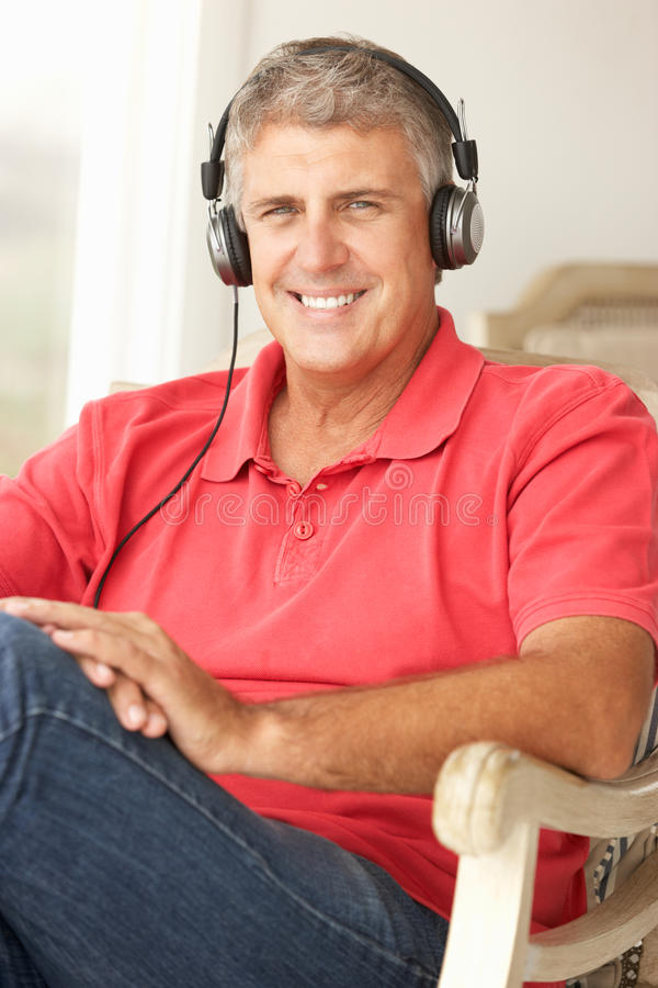 Mid Age Man Wearing Headphones Royalty Free Stock Photo