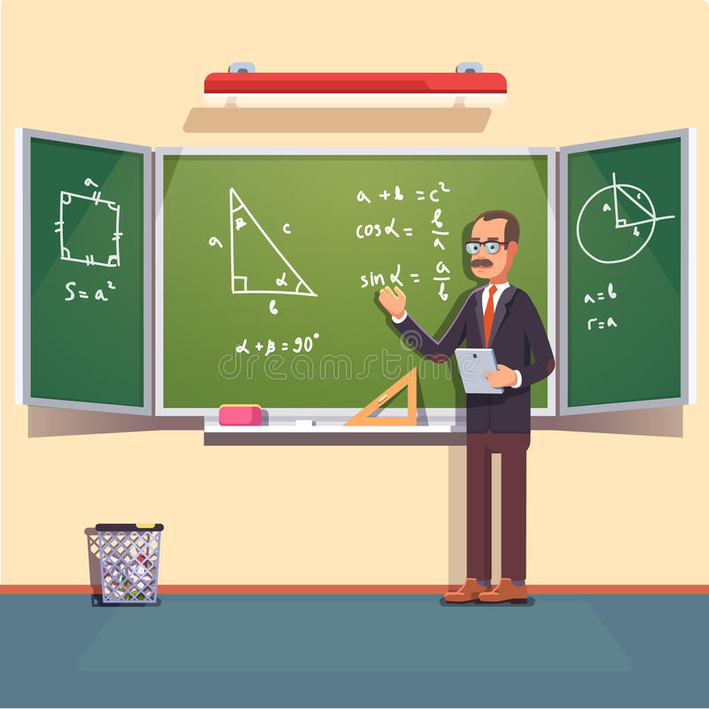 Free Mid Age Teacher Giving A Trigonometry Lecture Royalty Free Stock Image - 82134576