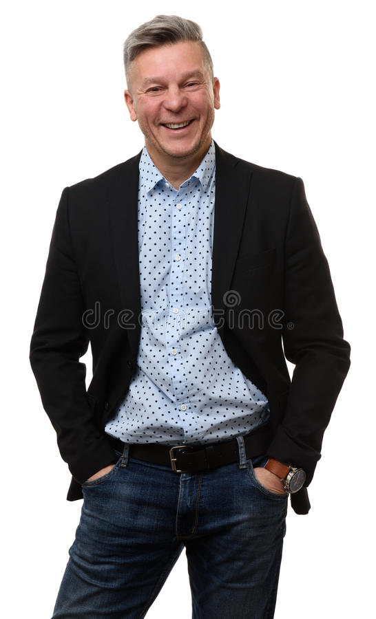 Mid aged business man smiling royalty free stock photos