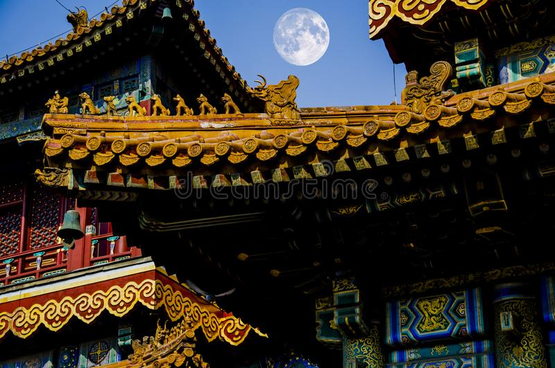 Mid Autumn Festival and ancient architecture of China royalty free stock photography