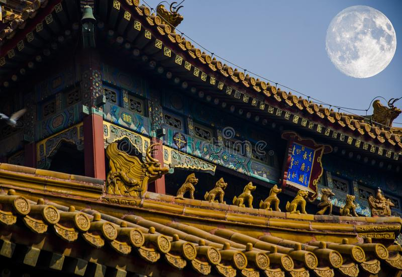 Mid Autumn Festival and ancient architecture of China stock photography