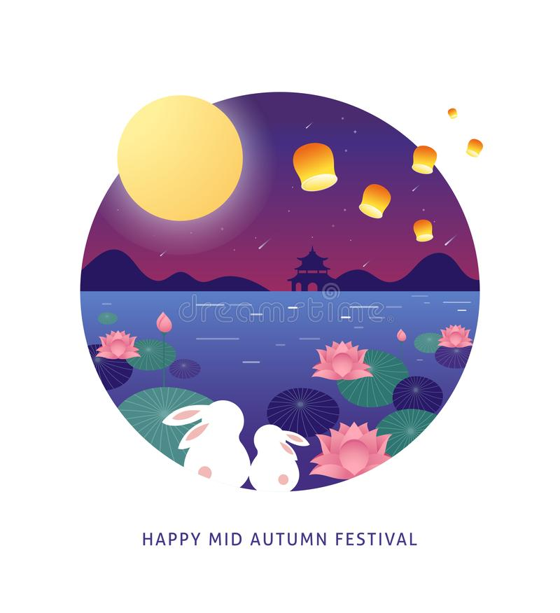 Mid Autumn Festival. Chuseok, Chinese wording translation Mid Autumn. Vector banner, background and poster with mooncake. Rabbits, bunnies and full moon vector vector illustration