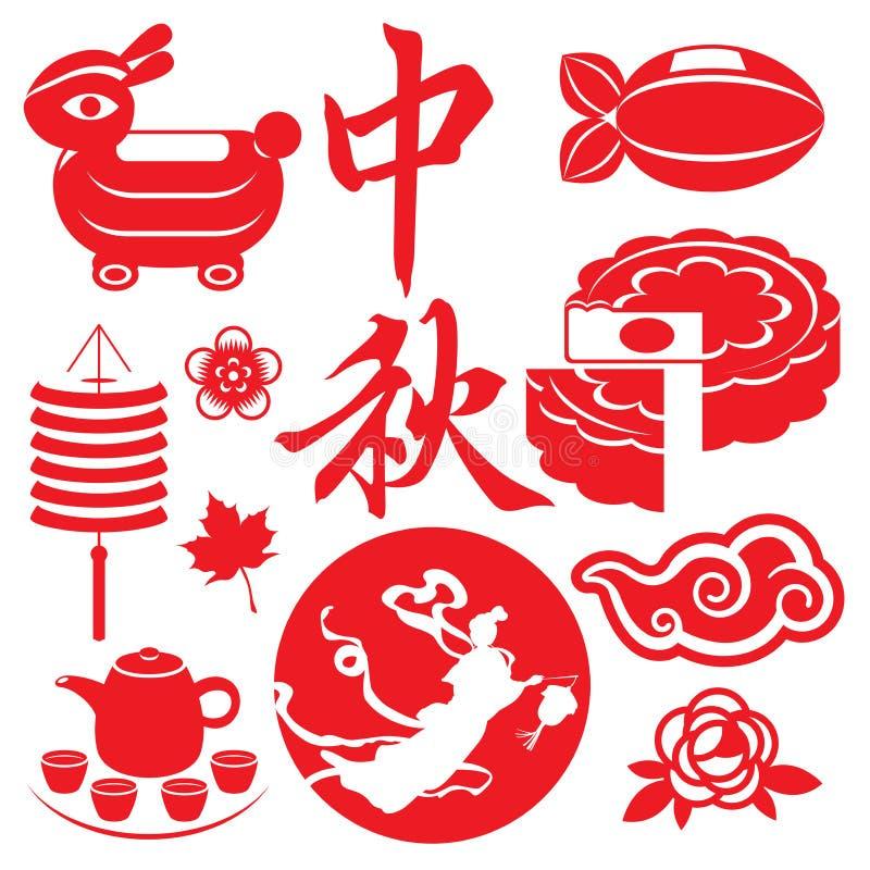 Mid Autumn festival concept icons set stock illustration