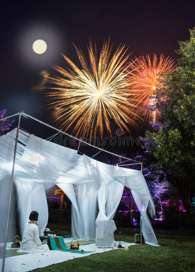 Mid Autumn Festival fireworks display the full moon royalty free stock photos