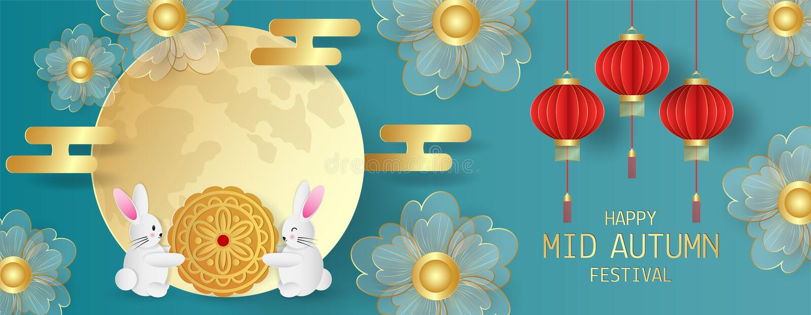 Mid Autumn festival greeting card with cute rabbit with moon cake, flowers, red lantern and full moon on green background. Vector illustration royalty free stock photo