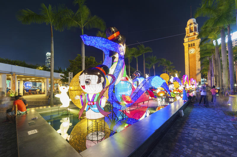 Mid-autumn festival in Hong Kong city royalty free stock photo