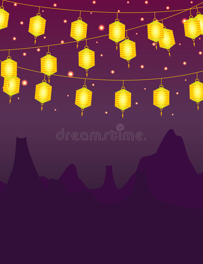 Mid-Autumn Festival Lanterns Illustration Design Stock
