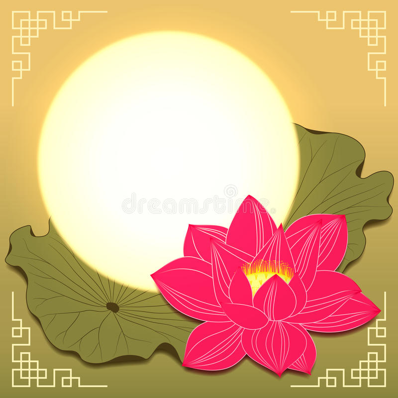 Mid Autumn Festival Lotus Flower and Moon royalty free stock photos