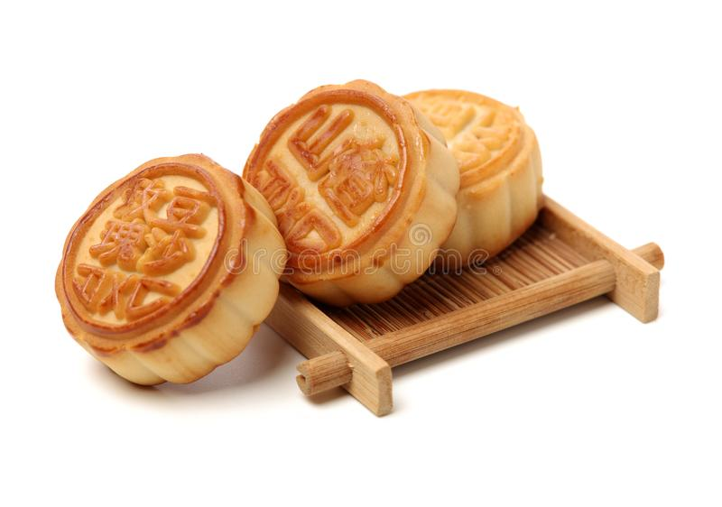 Mid-Autumn Festival moon cake. On white background royalty free stock photography