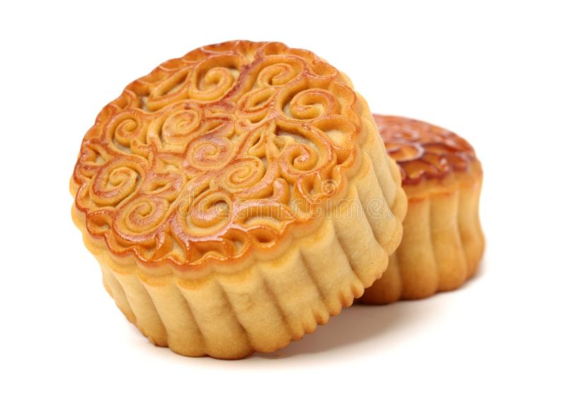 Mid-Autumn Festival moon cake. On white background royalty free stock image