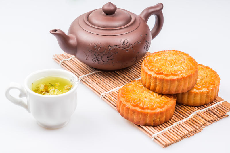 Mid-Autumn Festival moon cake on wooden board royalty free stock images