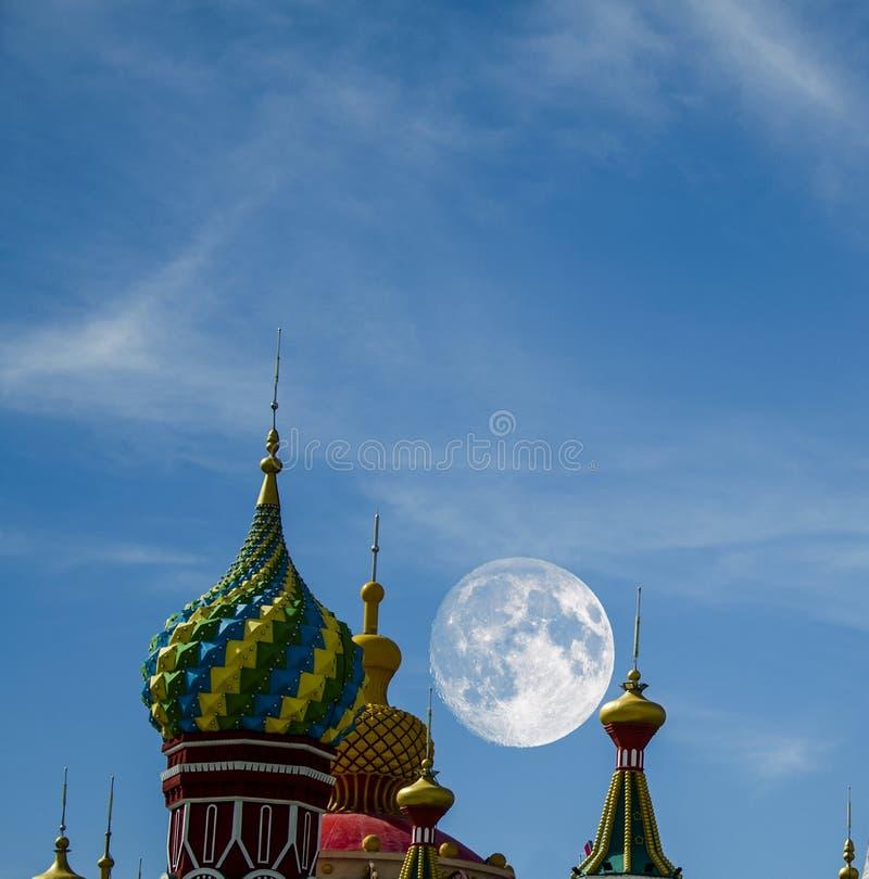 Russia ancient architecture under Mid Autumn Festival stock photo