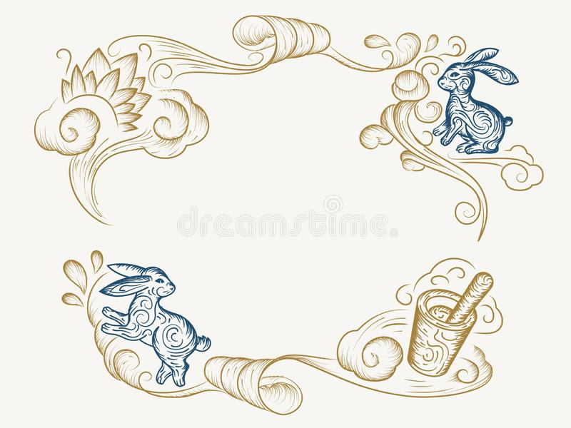 Mid autumn or harvest moon festival background. Sketch of rabbit or bunny, mortar potion, line art decoration for mid-autumn greeting card. Chinese or China vector illustration