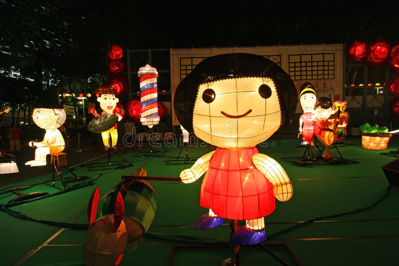 Mid-Autumn Lantern Carnival in Hong Kong stock photo