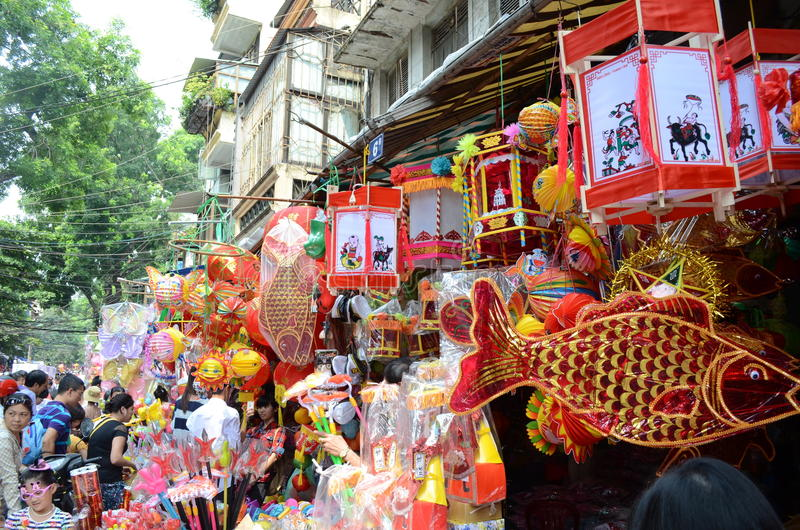 Mid autumn lantern for children are for sale on the street stock image