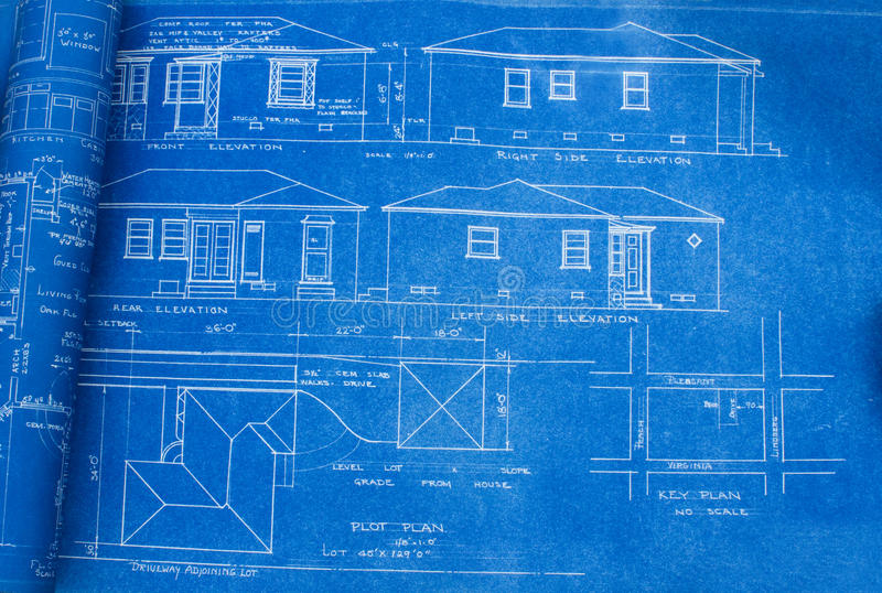 Mid Century Home Blueprint. Set of house blueprints or plans from the 1950s featuring a simple ranch style home royalty free stock image